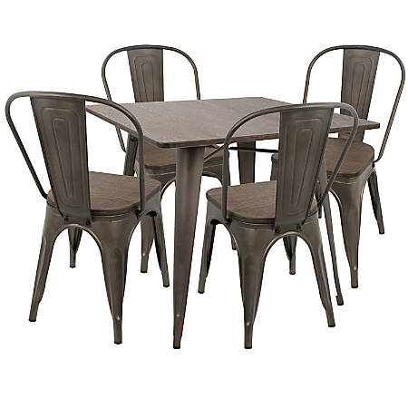 Lumisource Oregon Industrial Farmhouse Dining Table With 4 Dining Chairs, Antique/Espresso