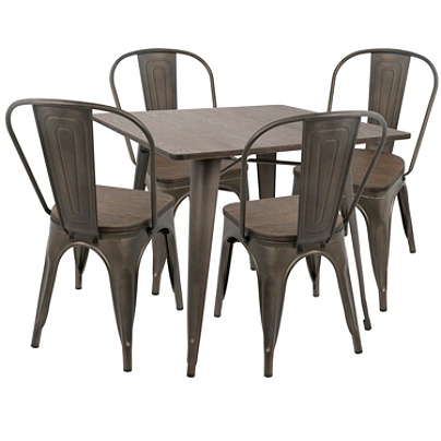Lumisource Oregon Farmhouse Dining Table With 4 Chairs Antique Espresso Item 5448040