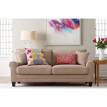 "Serta® Copenhagen Deep-Seating Sofa, 73"", Tan/Espresso"