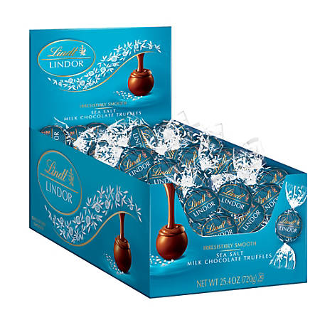 Lindt Lindor Truffles, Sea Salt Milk Chocolate, Box Of 60