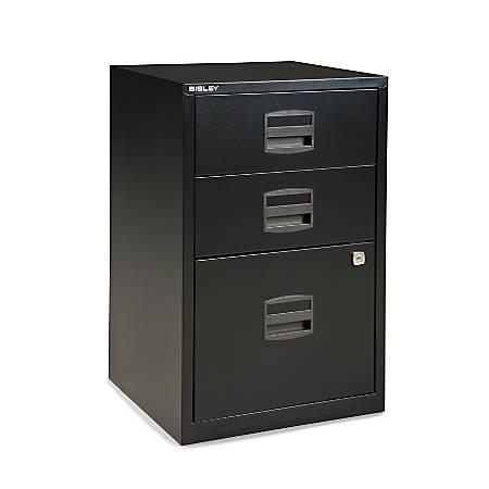"""Bisley 14-13/16""""D Vertical 3-Drawer Under-Desk Storage Cabinet, Metal, Black"""