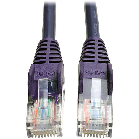 Tripp Lite 14ft Cat5e / Cat5 Snagless Molded Patch Cable RJ45 M/M Purple 14' - 14 ft Category 5e Network Cable for Network Device - First End: 1 x RJ-45 Male Network - Second End: 1 x RJ-45 Male Network - 128 MB/s - Patch Cable - Purple