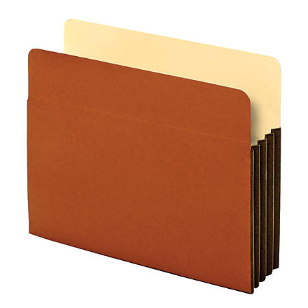 """Office Depot® Brand Heavy-Duty File Pockets, 3 1/2"""" Expansion, 8 1/2"""" x 11"""", Letter Size, 30% Recycled, Brown, Box Of 10 File Pockets"""