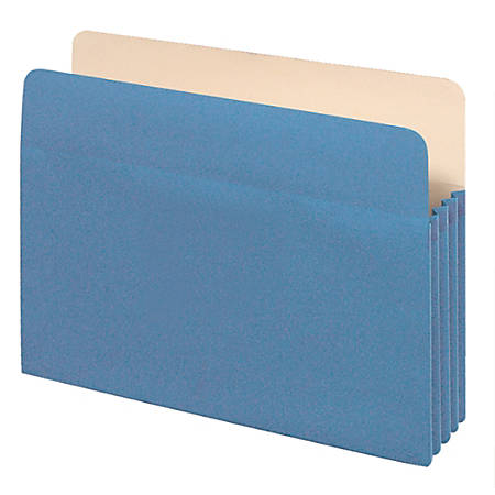 "Office Depot® Brand Color File Pockets, 3 1/2"" Expansion, 8 1/2"" x 11"", Letter Size, Blue"