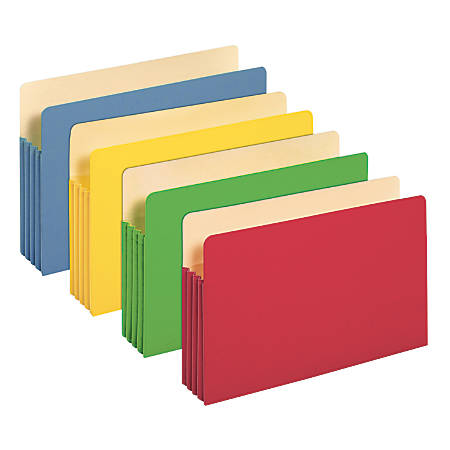"Office Depot® Brand Color File Pockets, 3 1/2"" Expansion, 8 1/2"" x 14"", Legal Size, Assorted Colors, Pack Of 5"