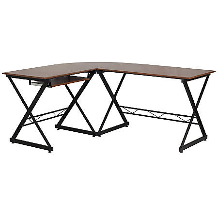 Flash Furniture Teakwood Contemporary Laminate L-Shape Computer Desk With Pull-Out Keyboard Tray, Walnut