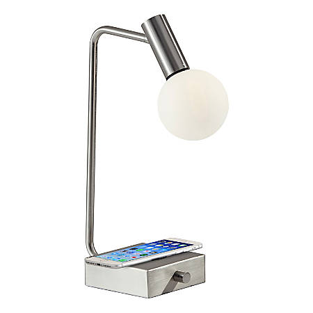 "Adesso® Windsor Wireless Charging Desk Lamp, 17-1/2""H, White Shade/Brushed Steel Base"