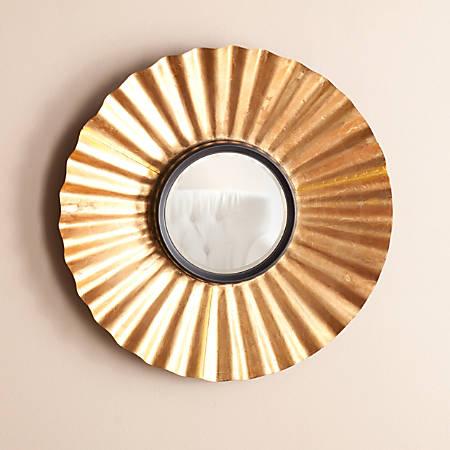"""Southern Enterprises Kalera Circular Decorative Mirror, 27 1/2""""H x 27 1/2""""W x 3 1/4""""D, Black/Gold"""