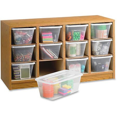 """Safco 12-Compartment Laminate Supplies Organizer, 19""""H x 34""""W x 13""""D, Oak Finish"""