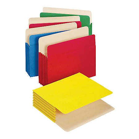 """Office Depot® Brand Color File Pockets, 5 1/4"""" Expansion, 8 1/2"""" x 11"""", Letter Size, Assorted, Pack Of 5"""