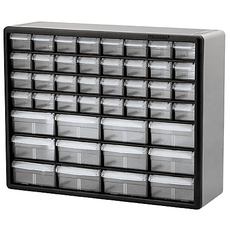 "Akro-Mils 44-Drawer Stackable Cabinet, 20"" x 6 3/8"" x 15 13/16"", Gray"