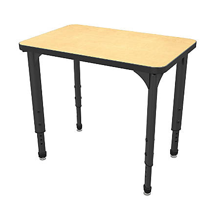 Marco Group Apex™ Series Adjustable Rectangle Student Desk, Fusion Maple/Black