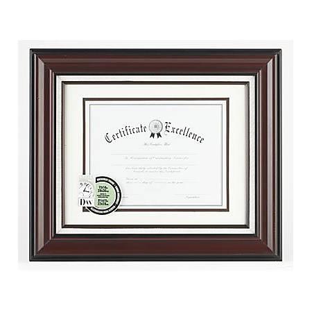 "DAX Linen Insert Certificate Mahogany Frame - 14"" x 11"" Frame Size - Holds 11"" x 8.50"" Insert - Wall Mountable - 1 Each - Burgundy"