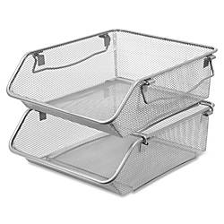 Lorell Mesh 2 Tier Stacking Storage