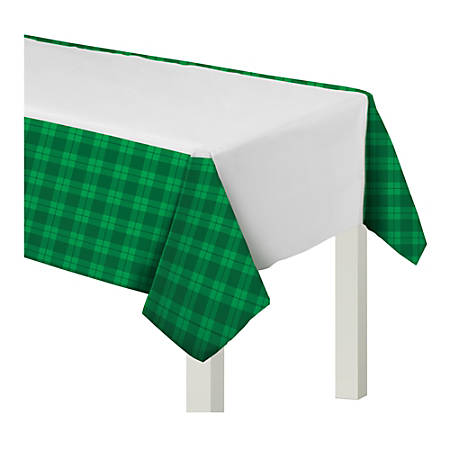 """Amscan St. Patrick's Day Plaid Plastic Table Covers, 54"""" x 102"""", Green/White, Set Of 3 Covers"""
