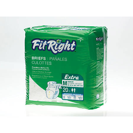 FitRight Extra Disposable Briefs, Medium, White, Bag Of 20 Briefs