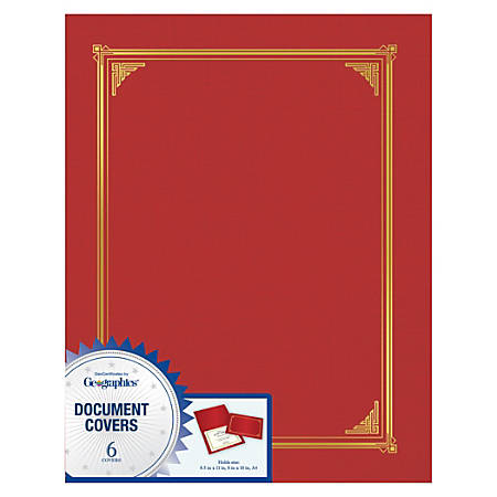 "Geographics® Document Covers, 9 3/4"" x 12 1/2"", Red, Pack Of 6"