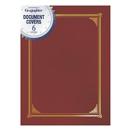 """Geographics® Document Covers, 9 3/4"""" x 12 1/2"""", Red, Pack Of 6"""