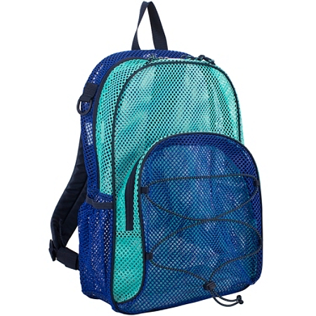 Eastsport Sport Mesh Backpack, With Bungee, Indigo/Turquoise
