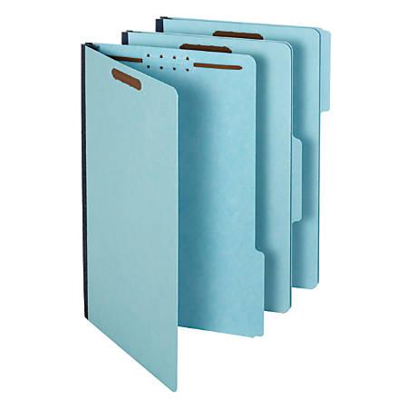 "Pendaflex® Pressboard Fastener Folders, 2"" Expansion, Legal Size, 100% Recycled, Light Blue, Pack Of 25 Folders"