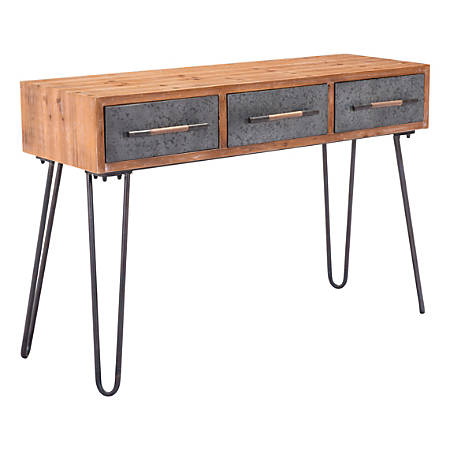 Zuo Modern Metal Console Table, Rectangle, Antique