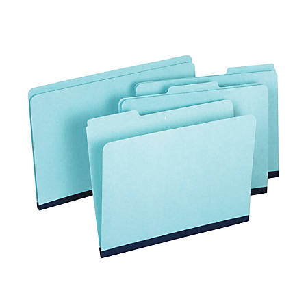 "Pendaflex® Pressboard Expansion File Folders Without Fasteners, 1"" Expansion, Letter Size, 60% Recycled, Light Blue, Pack Of 25 Folders"
