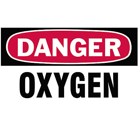 Gas Cylinder Lockout Labels, Danger Oxygen Gas, 5 in W x 3 in H, White/Red