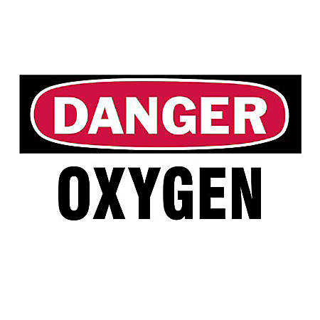 "3""X5"" DANGER OXYGEN GASCYLINDER LABEL"