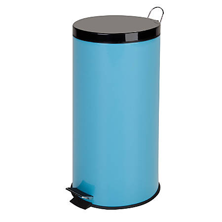 """Honey-Can-Do Round Steel Step Trash Can With Bucket, 7.9 Gallons, 25""""H x 11 1/2""""W x 11 1/2""""D, Robin's Egg Blue"""