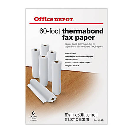 """Office Depot® Brand Thermabond Fax Paper, 1/2"""" Core, 60' Roll, Box Of 6 Rolls"""