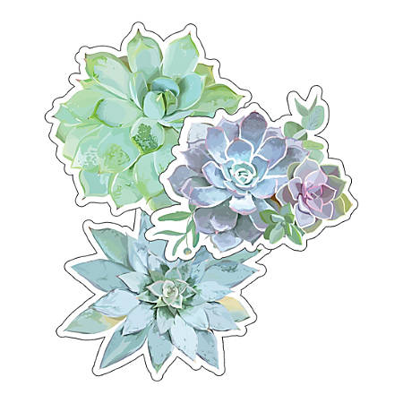 Schoolgirl Style Cut-Out Decorations, Succulents, Pack Of 36 Decorations