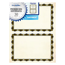 Geographics Crown Gold Parchment Mini Certificates