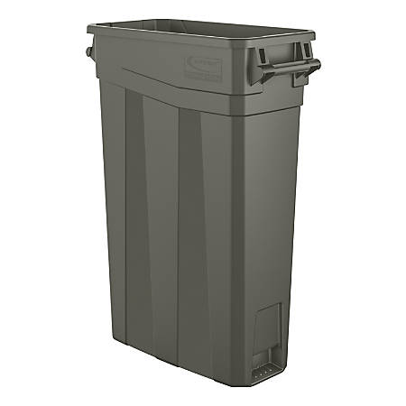 """Suncast Commercial Narrow Rectangular Resin Trash Can, With Handles, 23 Gallons, 30""""H x 11""""W x 22""""D, Gray"""