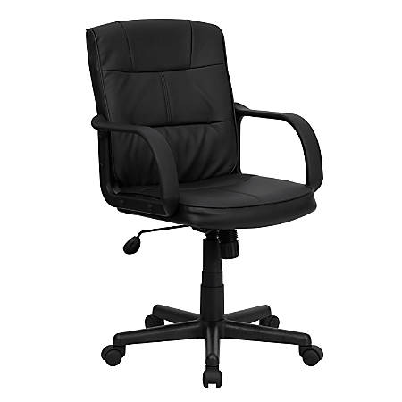Flash Furniture Leather Mid-Back Swivel Task Chair With Arms, Black