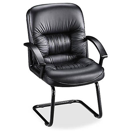 Lorell® Tufted High-Back Bonded Leather Guest Chair, Black