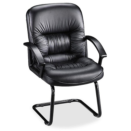 Lorell Tufted High Back Bonded Leather Guest Chair Black By Office Depot Officemax