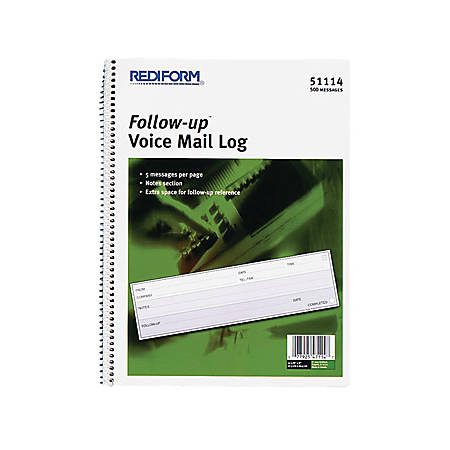 """Rediform Follow-Up Voice Mail Log Book - 500 Sheet(s) - Wire Bound - 1 Part - 8"""" x 10 5/8"""" Sheet Size - White Sheet(s) - Blue Print Color - Recycled - 1 Each"""