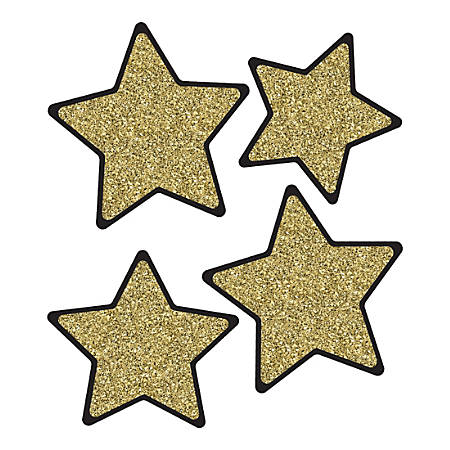 Carson-Dellosa Sparkle And Shine Stars Cut-Outs, Gold Glitter, Pack Of 36 Cut-Outs