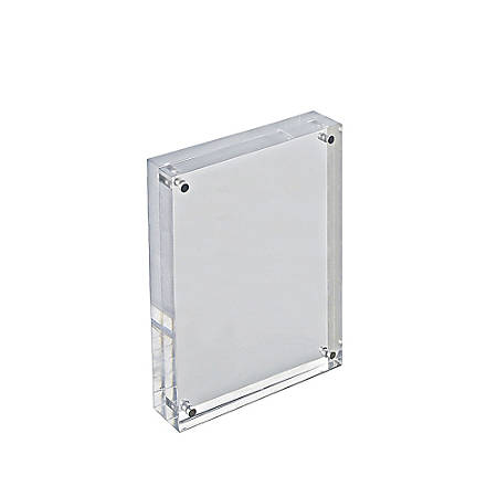 "Azar Displays Acrylic Vertical/Horizontal Block Frame, 5"" x 7"", Clear"
