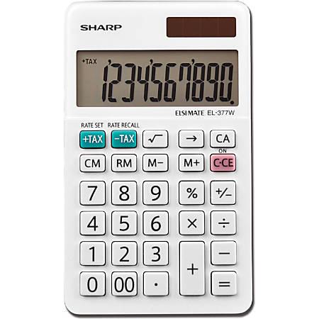 Sharp® White Series Handheld Calculator, EL-377WB