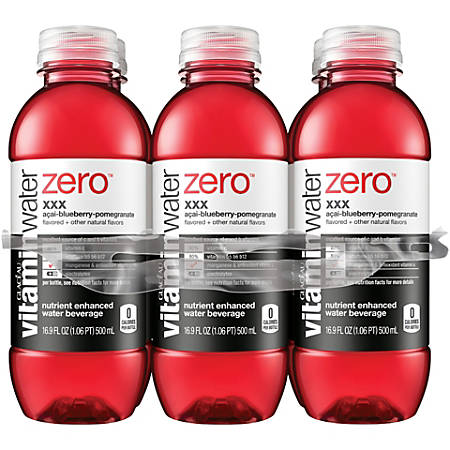 Vitaminwater Zero Sports Drinks, XXX, 16.9 Oz, Pack Of 6
