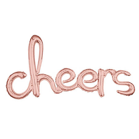 "Amscan ""Cheers"" Cursive Balloon Banner, 21"" x 40"", Rose Gold"