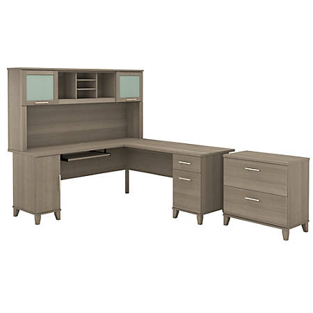 "Bush Furniture Somerset L Shaped Desk With Hutch And Lateral File Cabinet, 72""W, Ash Gray, Standard Delivery"
