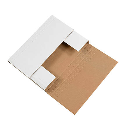 """Office Depot® Brand Easy-Fold Mailers, 12 1/8""""L x 9 1/8""""W x 2""""H, White, Pack Of 50"""