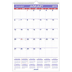 AT A GLANCE Erasable Monthly Wall