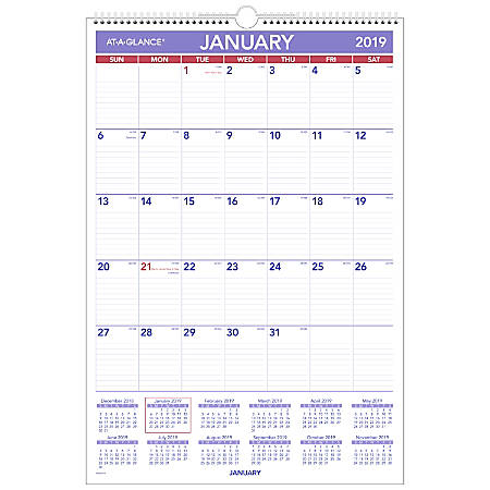 """AT-A-GLANCE® Erasable Monthly Wall Calendar, 15 1/2"""" x 22 3/4"""", January to December 2019"""
