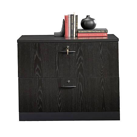 Sauder® Via Wood Letter/Legal Size Lateral File Cabinet, Bourbon Oak/Soft Black