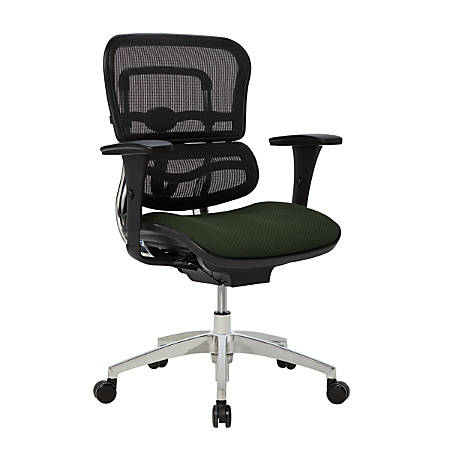WorkPro® 12000 Ergonomic Mesh/Fabric Managerial Mid-Back Chair, Olive/Black/Chrome