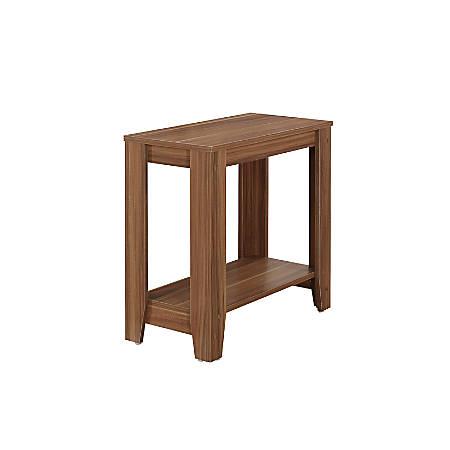 Monarch Specialties Side Table, With Shelf, Rectangle, Walnut