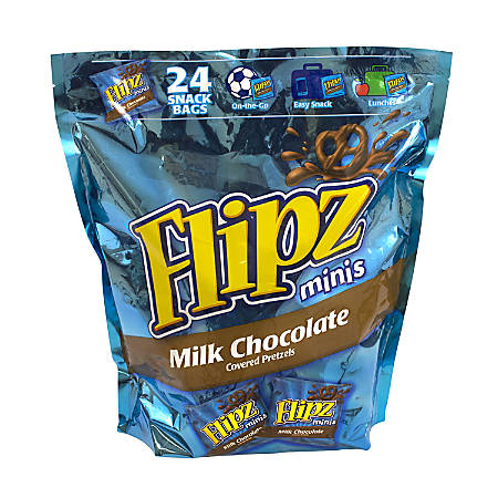Flipz Mini Chocolate-Covered Pretzels Snack Bags, 1 Oz, Pack Of 24